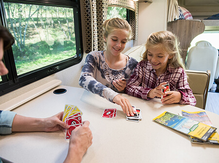 family traveling in a rv